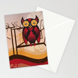 Red Owl at Dusk Stationery Cards