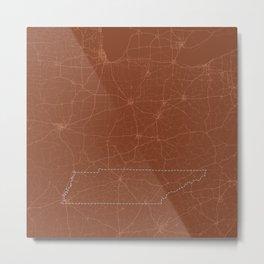 Burnt Orange Map of Tennessee Metal Print
