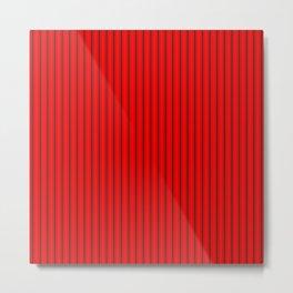 Mattress Ticking Striped Pattern Jet Black on Red Metal Print