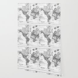 Black and White World Map (1892) Wallpaper