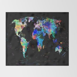 world map political watercolor Throw Blanket