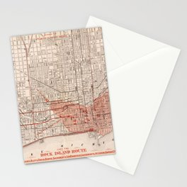 Vintage Railroad Map of Chicago (1871) Stationery Cards