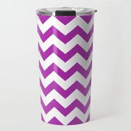 Chevron (Purple & White Pattern) Travel Mug