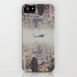 The plane flew over the city, Bangkok  ,Thailand iPhone Case