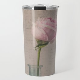 Pink Rose with French Script Travel Mug