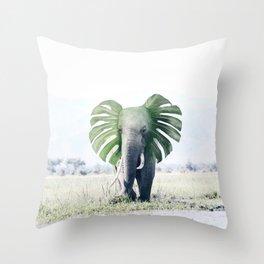 Monstera Elephant Throw Pillow