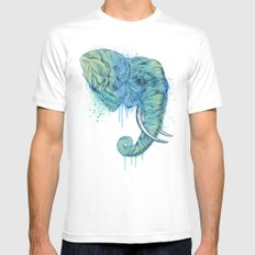Elephant Portrait MEDIUM White Mens Fitted Tee
