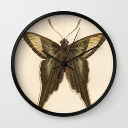 Antique Curius Butterfly Lithograph Wall Clock