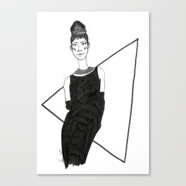 Girl in a black dress Canvas Print
