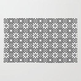 Kaleidoscope Flowers - Black and White Rug