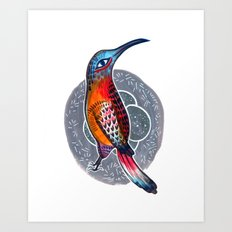 Hummingbird and Nest Art Print