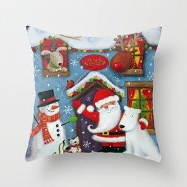Santa's House Throw Pillow