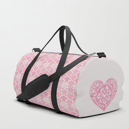 Pink Heart Valentine's Doilies Pattern Duffle Bag