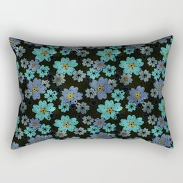Blue and turquoise flowers on a black background . Rectangular Pillow
