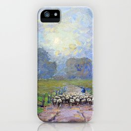 Shepherd Herding Sheep in a Misty Landscape - Digital Remastered Edition iPhone Case