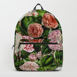 Vintage & Shabby Chic Green Dark Floral Camellia  Flowers Watercolor Pattern Backpack