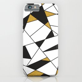 Modern Geometry -black and white with gold- iPhone Case