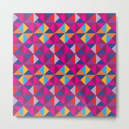 Colorful Equilateral Triangles Patchwork Pattern Metal Print
