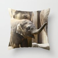 baby elephant Throw Pillows featuring Baby Elephant by Päivi Vikström