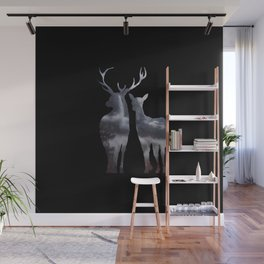 Forest deer family black pattern Wall Mural
