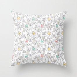 Doodle Cats Throw Pillow