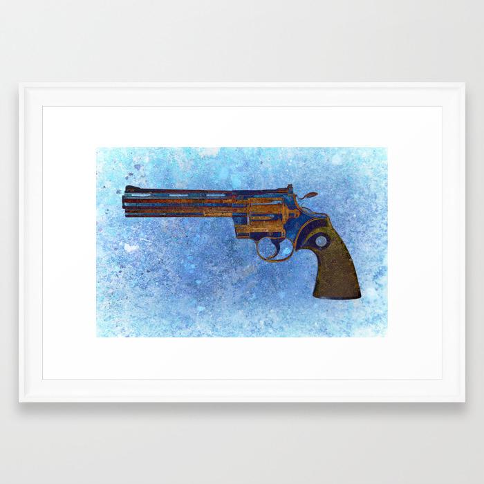 Colt Python 357 Magnum on Blue Back Ground Framed Art Print