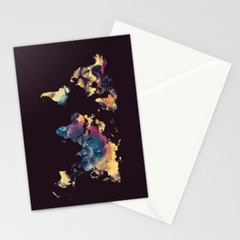 world map 79 yellow black Stationery Cards
