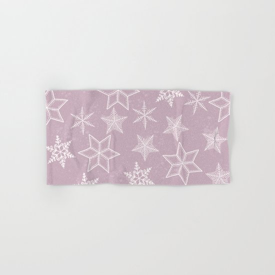 Snowflakes on pink background Hand & Bath Towel