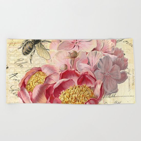 Vintage Flowers #20 Beach Towel