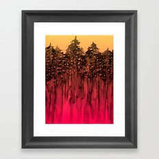 FOREST THROUGH THE TREES 12 Hot Pink Magenta Orange Black Landscape Ombre Abstract Painting Outdoors Framed Art Print