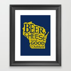Blue and Gold Beer, Cheese and Good Company Wisconsin Graphic Framed Art Print