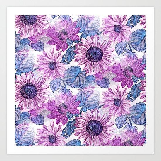 Dusty Pink Flowers Art Print