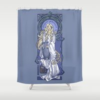 mucha Shower Curtains featuring Galadriel Nouveau by Karen Hallion Illustrations