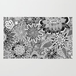 Chalkboard Flowers (Night Version) Rug