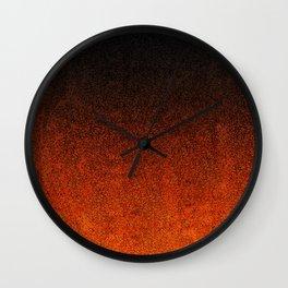 Orange & Black Glitter Gradient Wall Clock