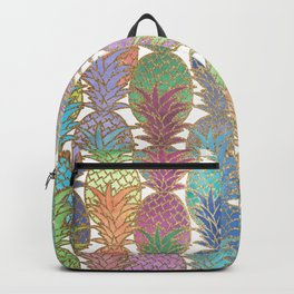 Colorful Watercolor and Gold Pineapple Pattern Backpack
