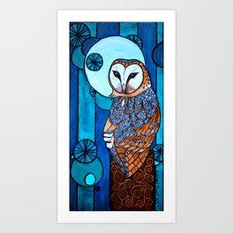 Barn Owl Art Nouveau Panel in blue Art Print