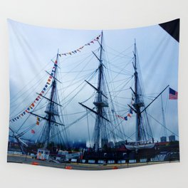 Blue Ship Wall Tapestry