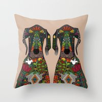 great dane Throw Pillows featuring Great Dane love beige by Sharon Turner