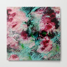 Abstract colorful background with hand-painted texture. Watercolor painting with splashes, drops of paint, paint smears. Design for the  fabric, wallpapers, covers and packaging, wrapping paper. Metal Print