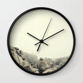 Misty rocks Wall Clock