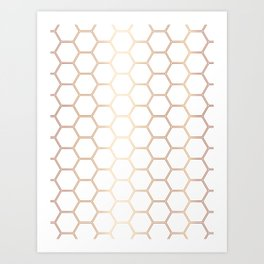 Honeycomb Rose Gold #372 Art Print