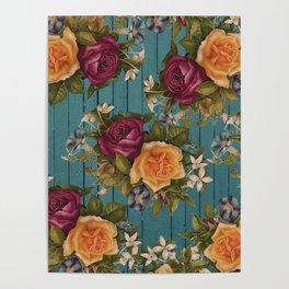 Vintage green wood coral burgundy roses floral Poster
