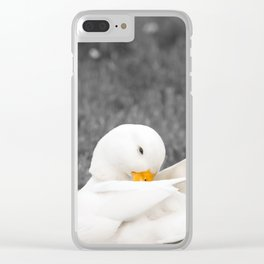 White Male Call Duck Clear iPhone Case