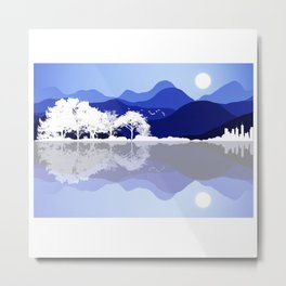 Acoustic Guitar Forest Nature Reflection Mountains Metal Print