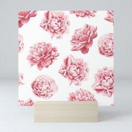 Pink Rose Garden on White Mini Art Print