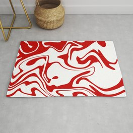 Holiday Red Liquid Marble Effect Pattern Rug