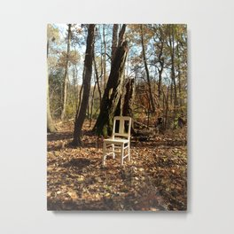 Just a chair in the Woods Metal Print