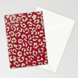 Modern brown beige leopard pattern print on red color trends Stationery Cards
