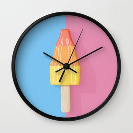Rocket Ice Cream Lollipop on a Split Blue and PInk Background Wall Clock